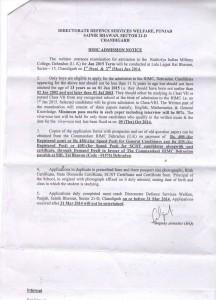 E-3 RIMC ADMISSION NOTICE